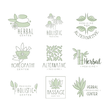 oriental medicine: Alternative Medicine Center With Oriental Herbal Treatment And Holistic Massage Procedures Collection Of Label Templates
