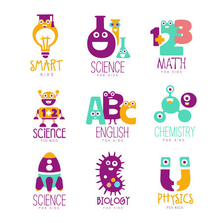 Kids Science Education Extra Curriculum Club Templates In Colorful Cartoon Style With Smiling Characters