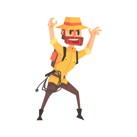 Adventurer Archeologist In Outfit And Hat Intimidating Somebody Illustration From Funny Archeology Scientist Series
