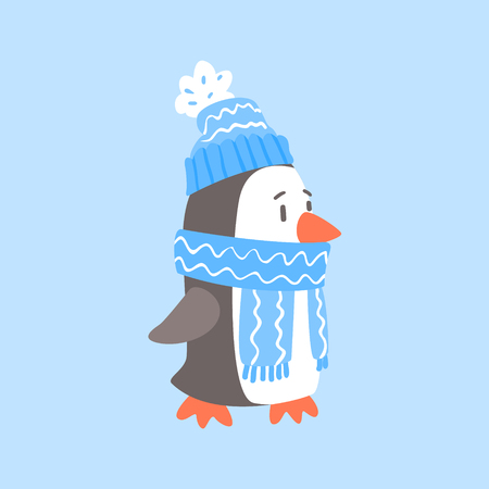 arctic penguin: Penguin In Blue Scarf And Hat, Arctic Animal Dressed In Winter Human Clothes Cartoon Character