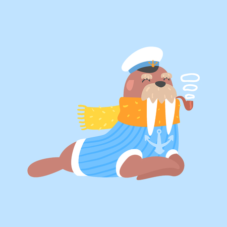 smoking pipe: Walrus Smoking Pipe In Captain Outfit, Arctic Animal Dressed In Winter Human Clothes Cartoon Character