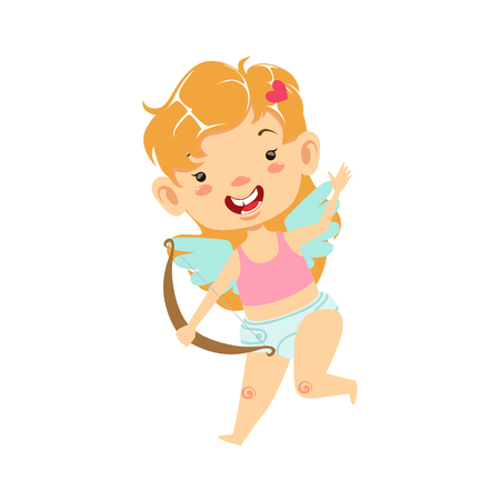 Girl Baby Cupid With Bow, Winged Toddler In Diaper Adorable Love Symbol Cartoon Character Stock Photo