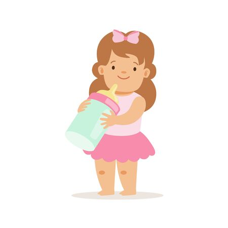 Girl In Pink Skirt With Milk Bottle, Adorable Smiling Baby Cartoon Character Every Day Situation