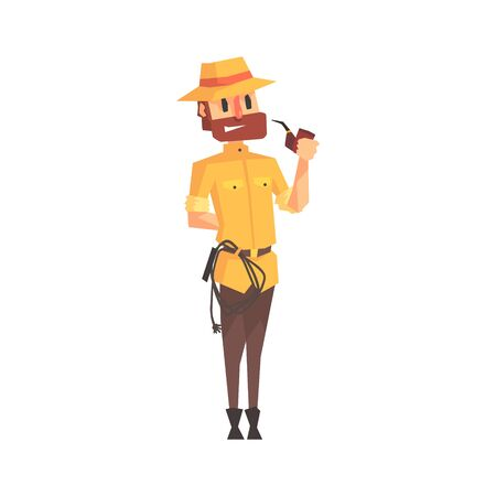 Adventurer Archeologist In Outfit And Hat Smoking Pipe Illustration From Funny Archeology Scientist Series