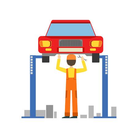 Smiling Mechanic Working Under Lifted Vehicle In The Garage, Car Repair Workshop Service Illustration Illustration