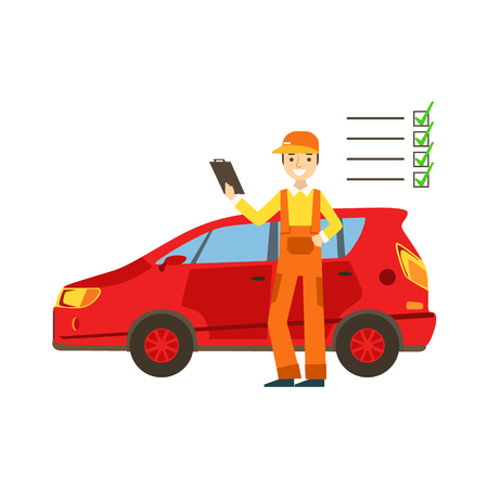 dungarees: Smiling Mechanic Analysing With Checklist In The Garage, Car Repair Workshop Service Illustration