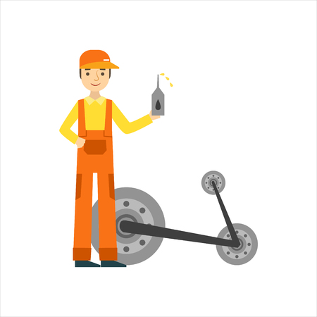 Smiling Mechanic Changing Oil In The Garage, Car Repair Workshop Service Illustration