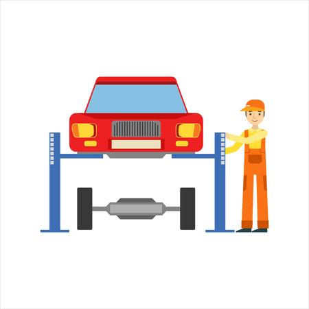차고에서 서스펜션을 복구하는 웃는 정비공, 자동차 수리 워크숍 서비스 일러스트 레이션