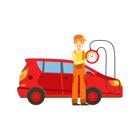 checking: Smiling Mechanic Checking The Battery Power In The Garage, Car Repair Workshop Service Illustration Illustration
