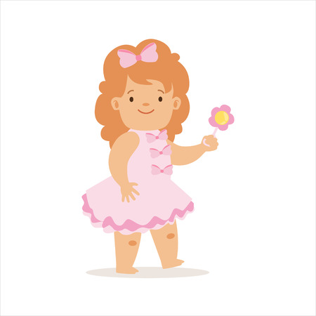 Girl In Pink Dress Walking With Flower, Adorable Smiling Baby Cartoon Character Every Day Situation