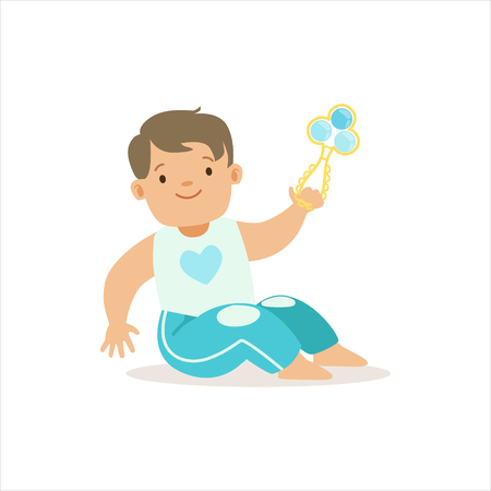 baby playing toy: Boy In Blue Pants Playing With Shaker, Adorable Smiling Baby Cartoon Character Every Day Situation