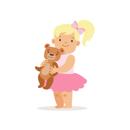 baby playing toy: Blon Girl Standing WIth Teddy Bear, Adorable Smiling Baby Cartoon Character Every Day Situation Illustration