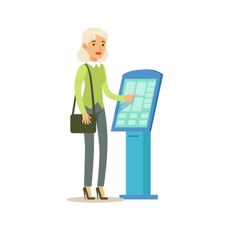 account management: Woman Taking Electronic Queue Ticket. Bank Service, Account Management And Financial Affairs Themed Vector Illustration Illustration