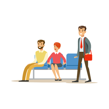account management: Three Person Waiting In Queue. Bank Service, Account Management And Financial Affairs Themed Vector Illustration