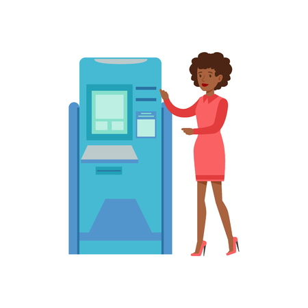 account management: Woman Standing Next To ATM Cash Machine. Bank Service, Account Management And Financial Affairs Themed Vector Illustration