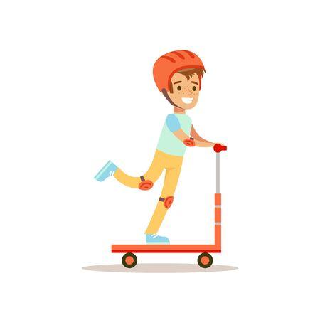 헬멧 타고 스쿠터, 전통적인 남성 아이 역할에서 소년 기대 클래식 동작 그림