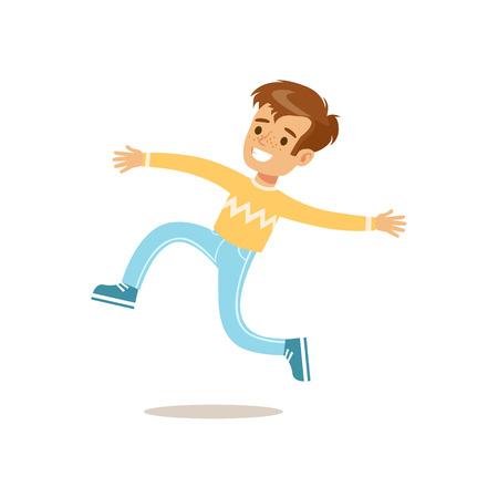 점프 하 고 실행하는 스웨터, 전통적인 남성 아이 역할에서 소년 클래식 동작 그림 기대