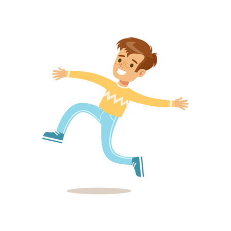 teenagers having fun: Boy In Sweater Jumping And Running, Traditional Male Kid Role Expected Classic Behavior Illustration