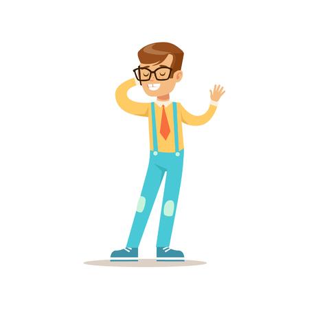 전화, 전통적인 남성 아이 역할에 말하기 안경에서 소년 기대 클래식 동작 그림 일러스트