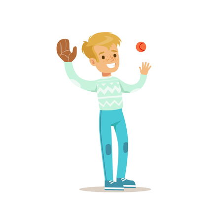 people having fun: Boy Playing Baseball, Traditional Male Kid Role Expected Classic Behavior Illustration