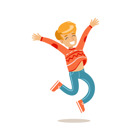 teenagers having fun: Boy Jumping, Traditional Male Kid Role Expected Classic Behavior Illustration