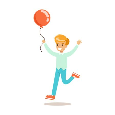 teenagers having fun: Boy Running With Balloon, Traditional Male Kid Role Expected Classic Behavior Illustration