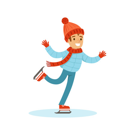 teenagers having fun: Boy Ice Skating, Traditional Male Kid Role Expected Classic Behavior Illustration