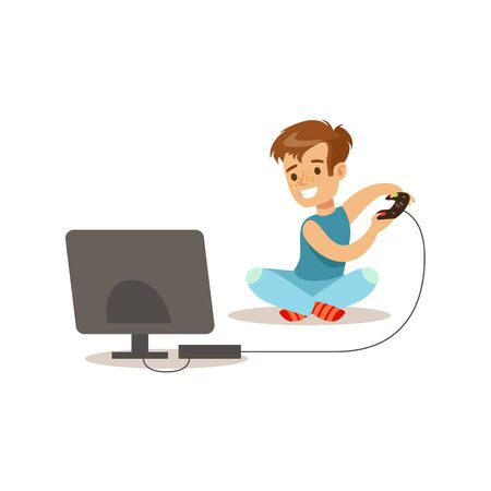 Boy Playing Console Video Games, Traditional Male Kid Role Expected Classic Behavior Illustration