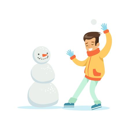 people having fun: Boy Playing Snowballs Nest To Snowman, Traditional Male Kid Role Expected Classic Behavior Illustration