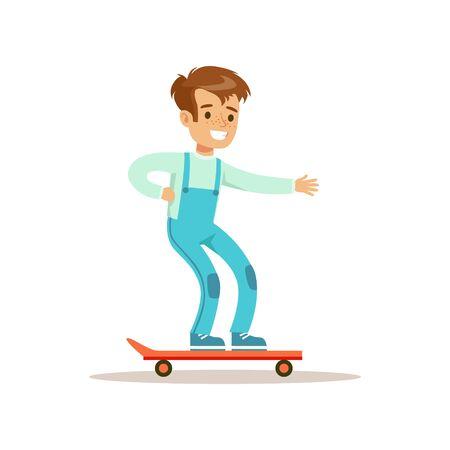 소년 스케이트 보드, 전통적인 남성 아이 역할 예상 클래식 동작 일러스트레이션