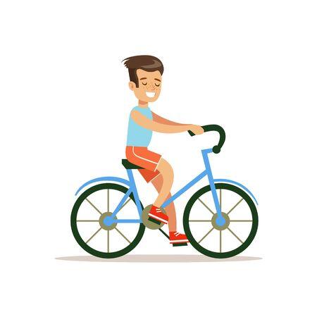 소년 타고 자전거, 전통적인 남성 아이 역할 예상 된 클래식 동작 그림 일러스트