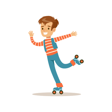 teenagers having fun: Boy Roller Skating, Traditional Male Kid Role Expected Classic Behavior Illustration