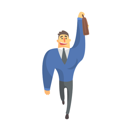 Businessman Top Manager In A Suit Catching Taxi, Office Job Situation Illustration