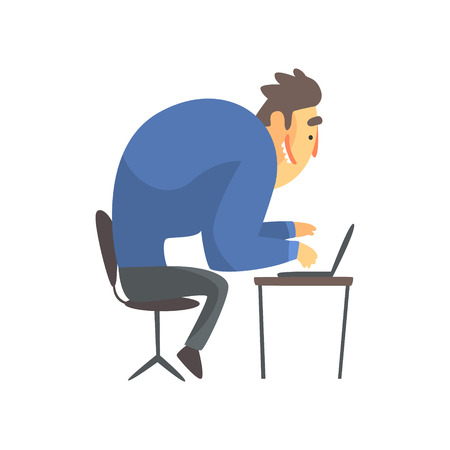 Businessman Top Manager In A Suit At His Desk, Office Job Situation Illustration Illustration