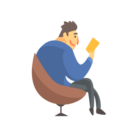 Businessman Top Manager In A Suit Reading In Armchair, Office Job Situation Illustration