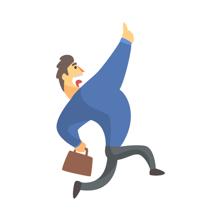 Businessman Top Manager In A Suit Running Screaming, Office Job Situation Illustration