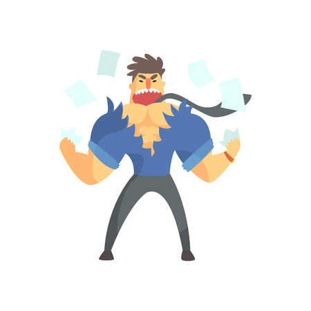 enraged: Enraged Businessman Top Manager In A Short Sleeve Shirt Ripping Clothes Apart, Office Job Situation Illustration Illustration