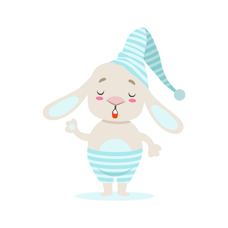 Little Girly Cute White Pet Bunny In Stripy Blue Night Hat, Cartoon Character Life Situation Illustration
