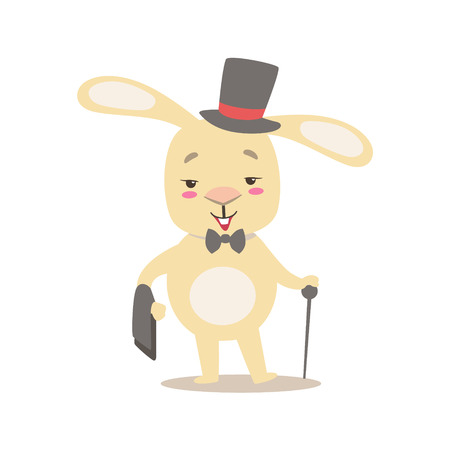 top hat cartoon: Little Girly Cute White Pet Bunny In Gentleman Costume With Top Hat, Cartoon Character Life Situation Illustration