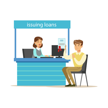 account management: Bank Client Getting A Loan. Bank Service, Account Management And Financial Affairs Themed Vector Illustration