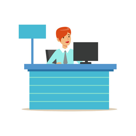 account management: Office Bank Employee At Her Desk. Bank Service, Account Management And Financial Affairs Themed Vector Illustration