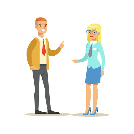 account management: Bank Employee Consulting The Client. Bank Service, Account Management And Financial Affairs Themed Vector Illustration