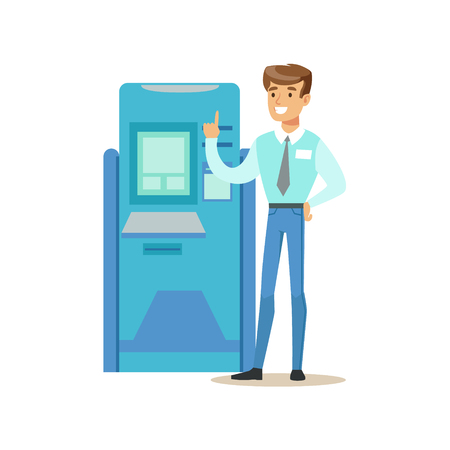 financial consultant: Bank Consultant Standing Next To ATM Cash Machine. Bank Service, Account Management And Financial Affairs Themed Vector Illustration