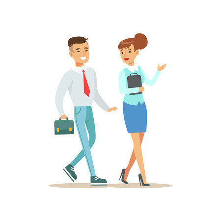account management: Colleagues Walking And Talking. Bank Service, Account Management And Financial Affairs Themed Vector Illustration Illustration