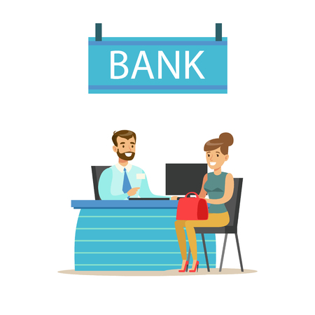 account management: Bank Manager At His Desk And The Client. Bank Service, Account Management And Financial Affairs Themed Vector Illustration Illustration