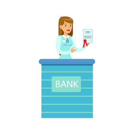 account management: Woman Bank Employee With Official Paper. Bank Service, Account Management And Financial Affairs Themed Vector Illustration