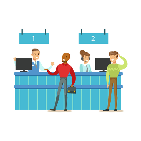 visitors: Client Service Counter With Bank Visitors And Workers. Bank Service, Account Management And Financial Affairs Themed Vector Illustration