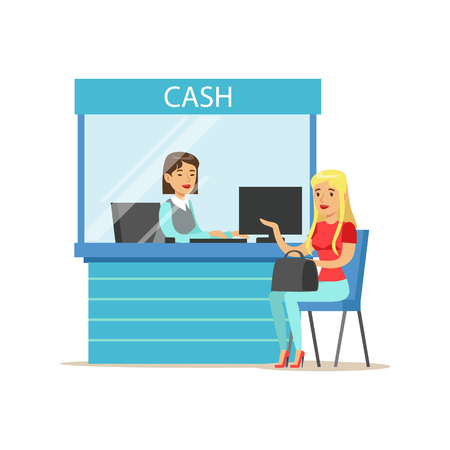 account management: Woman Withdrawing Cash At Bank Cashier. Bank Service, Account Management And Financial Affairs Themed Vector Illustration