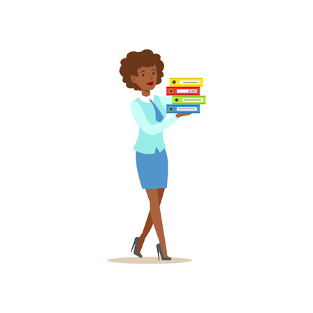 account management: Bank Secretary Waking Holding Pile Of Folders. Bank Service, Account Management And Financial Affairs Themed Vector Illustration
