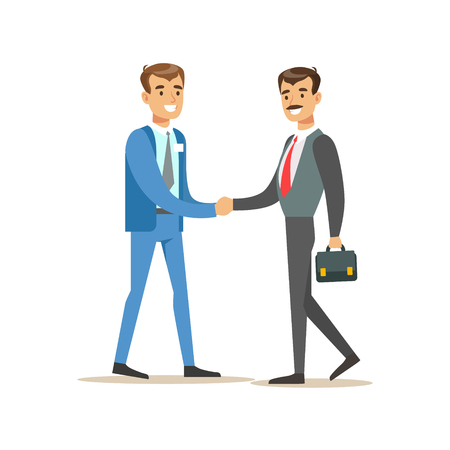 account management: Bank Manager Meeting Handshaking With Important Client. Bank Service, Account Management And Financial Affairs Themed Vector Illustration